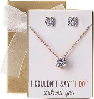 Bridesmaid Jewelry Gift Cubic Zirconia Necklace Set