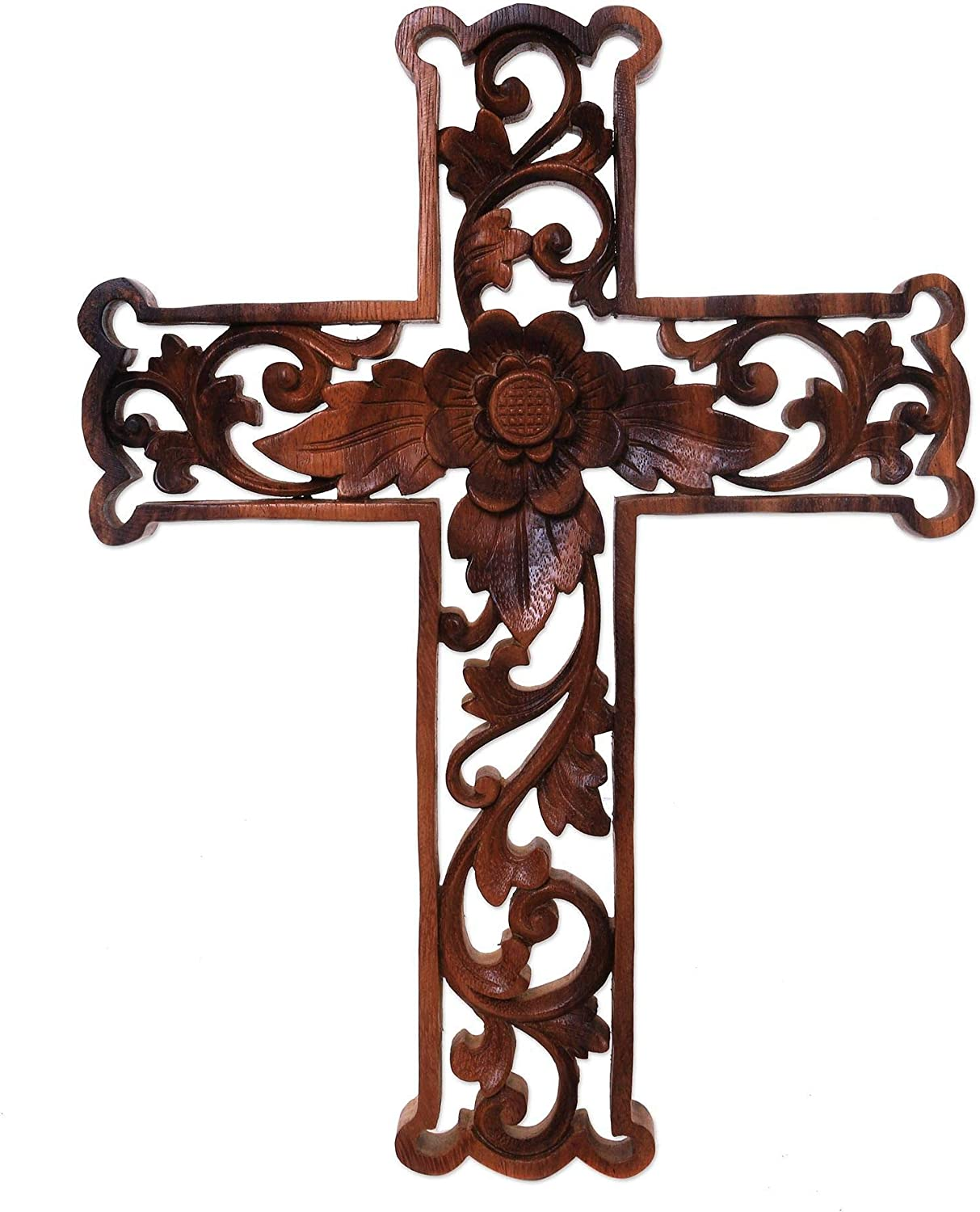 NOVICA Christian Large Wood Wall Cross Fixed Wholesale price for sale Lotus Cross' Brown