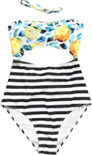 CUPSHE Women's Halter Design Printing Tie at Back One-Piece Padding Swimsuit