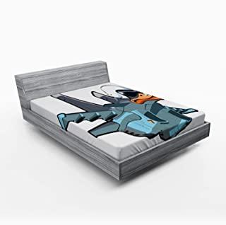 Lunarable Airplane Fitted Sheet, Jet Bird Angry Comic Aircraft German Pilot Duckling Funny Character, Soft Decorative Fabric Bedding All-Round Elastic Pocket, Full Size, Slate Blue Orange White