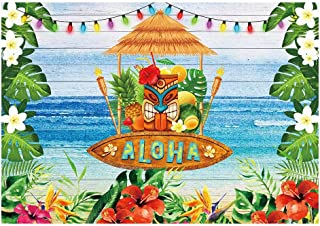 Funnytree 7x5ft Summer Aloha Luau Party Backdrop Tropical Hawaiian Beach Tiki Mask Flower Photography Background Sea Palm Floral Birthday Baby Shower Cake Table Decoration Banner Photo Booth Props