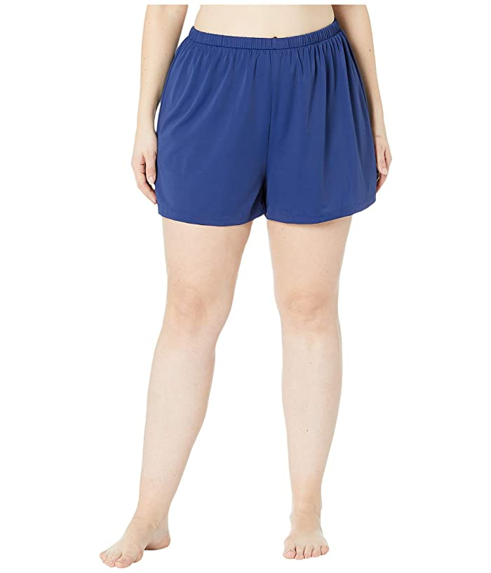Maxine of Hollywood Swimwear Plus Size Solids Separate Jogger Short Bottoms (Navy) Women