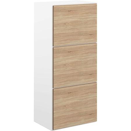 Movian Odiel - Meuble à chaussures, 50x33.1x118.7cm (longueurxprofondeurxhauteur), Blanc et finition chêne