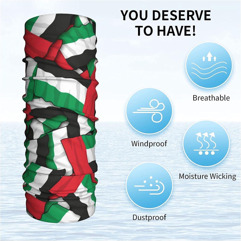 Kuwait Flag Multifunctional Neck Gaiter Seamless Face Mask, Reusable Bandana Scarf Balaclava Headbands, Men Women Running Motorcycle Cycling Skiing Hiking Party