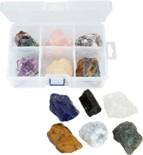 SUNYIK 6 Assorted Rough Stone Raw Crystal Quartz for Tumbling,Cabbing,Crystal Healing Kits