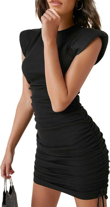 Romwe Women's Sleeveless Shoulder Sales Pads Neck Ruched Portland Mall Bod Mock Mini