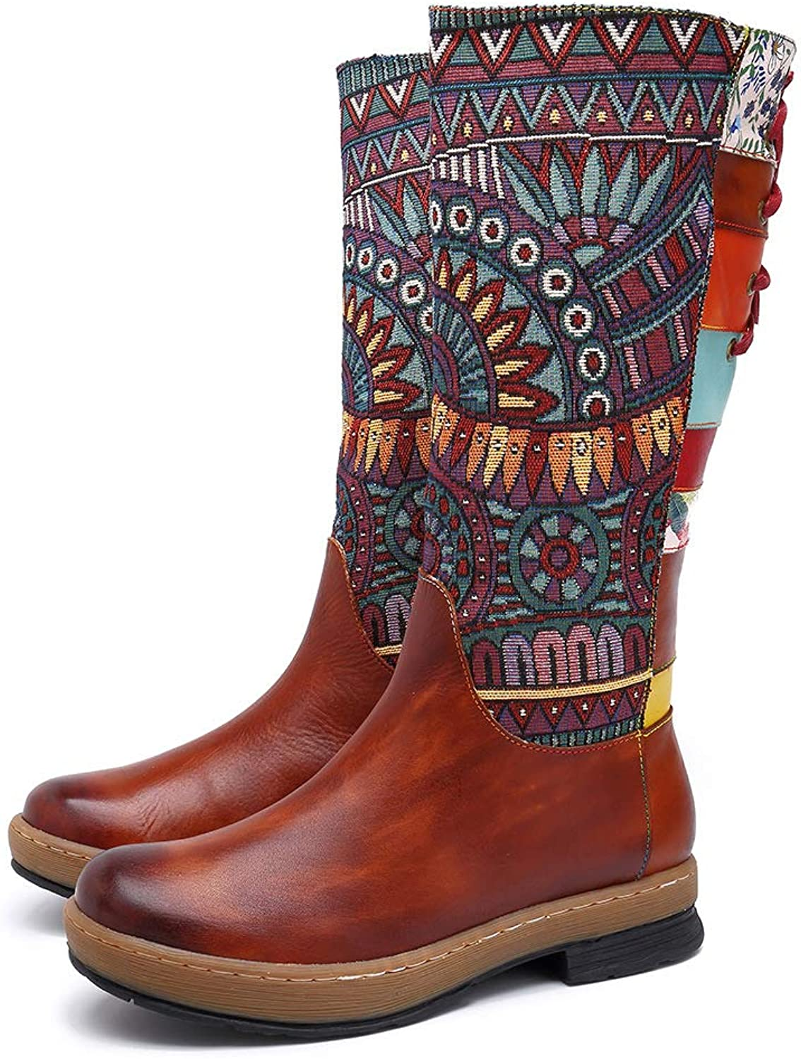 HUIYA Bohemian Style Casual Vintage Ethnic Style Leather Fashion Women's Boots shoes Knee Boots