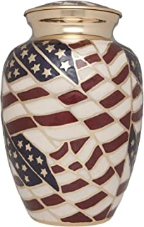 Ansons Urns Cremation Urn - Funeral Urn for Human Ashes - Large Adult Size Burial Urn - 100% Brass - Gold American Flag Patriotic Hero