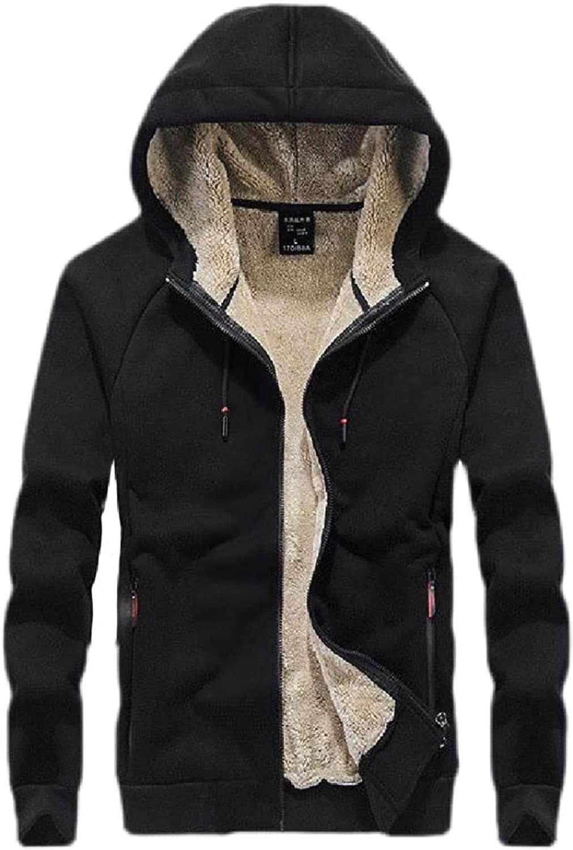 Men's Slim Hoodie Zip-Up Athletic Warm Fleece Lined Sweatshirt Jacket Coat