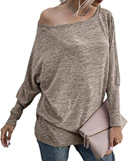 S-Fly Womens Solid Color Batwing Sleeve Knit Tops Blouse T Shirts