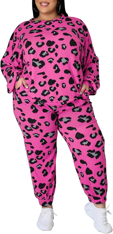 Women's Plus Size Outfits 2 Piece Sets Sweatsuit Long Sleeve Sweatpants Tracksuit