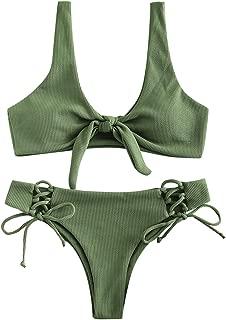 Women Two Pieces Swimwear Swimsuit Knotted Padded Scoop Bikini Sets Beachwear Bathing Suit Camel