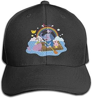 Baby Elephant Spraying Rainbow Lover Adjustable Baseball Cap Classic Curved Sunhat Dome Black