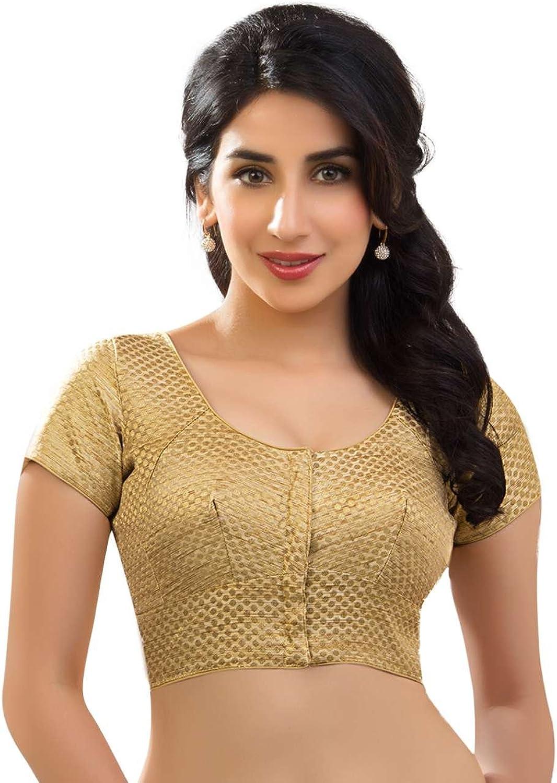 Designer Dupian Silk Katori Style gold Brocade Saree Blouse Sari Choli  KT5