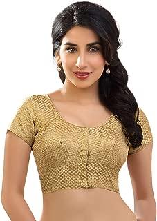 Designer Dupian Silk Katori Style Gold Brocade Saree Blouse Sari Choli - KT-5 with Beautiful Gold Pouch