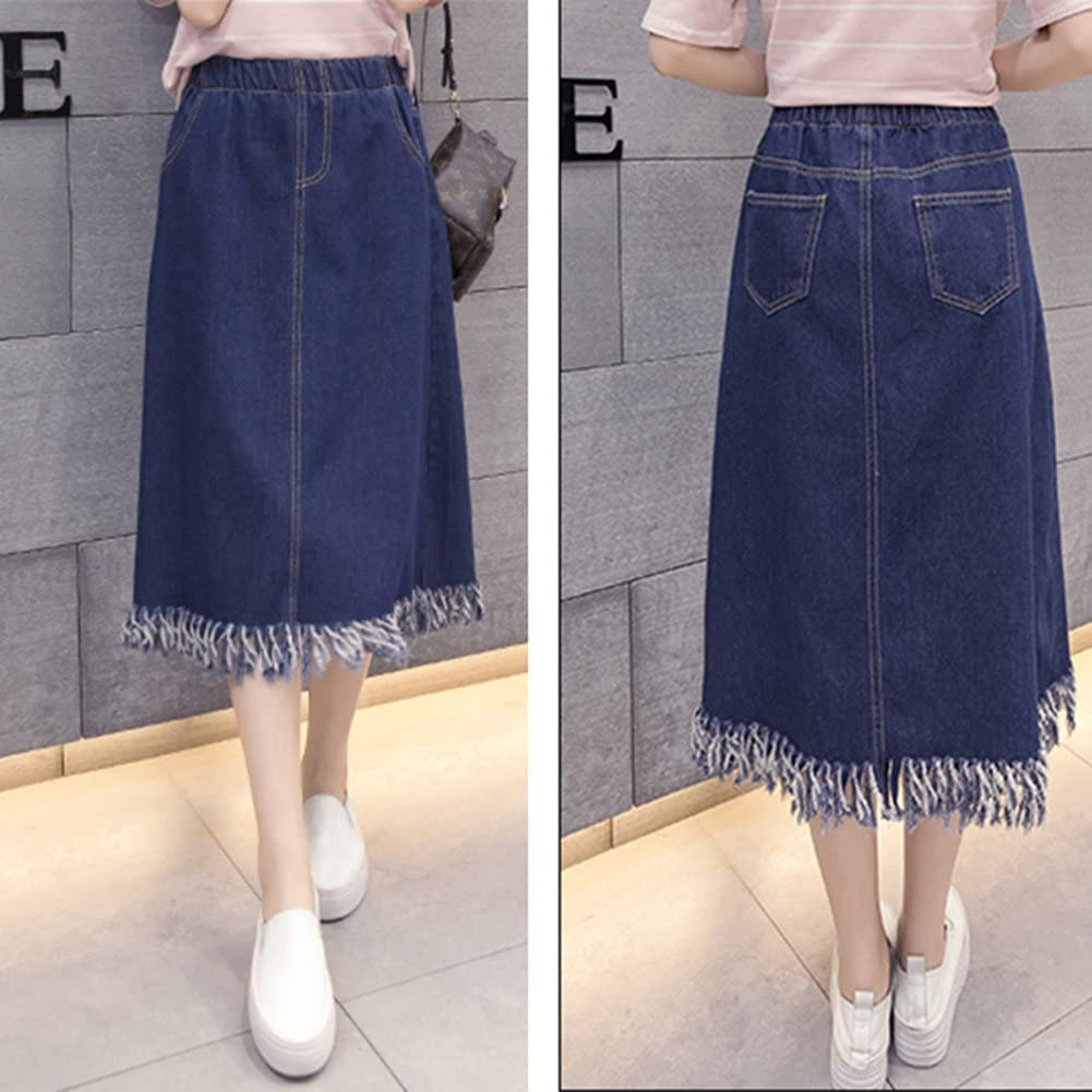 Summer Women Denim Skirts A Line Tassels Mid-Long Pleated Elastic Waist Casual Jeans Skirt Plus Size for Fat MM