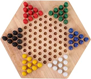 Chess Board Chessboard Chinese Checkers Game Set Wooden Educational Board Chinese Checkers Set for Kids Family Strategy Ga...