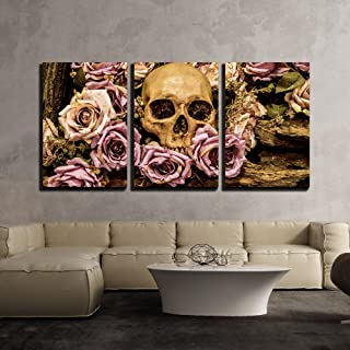 wall26 - Human Skull Roses Background - Canvas Art Wall Decor - 24