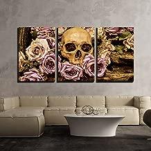 wall26 - Human Skull Roses Background - Canvas Art Wall Decor - 16
