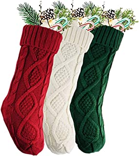 VesipaFly Christmas Stockings, 3 Pack 18 Inch Cable Knitted Xmas Rustic Personalized Hand Stocking Decorations for Christm...