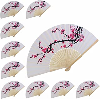VANVENE 10 pcs Delicate Cherry Blossom Design Silk Folding Hand Fan Wedding Favors Gifts