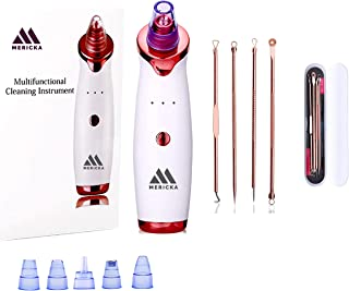 Mericka - Pack of one Professional Blackhead Remover Vacuum Suction Facial Pore Cleaner Acne Comedone Extractor Kit with 4...