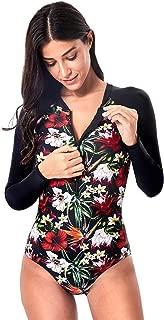 Women's Athletic One Piece Swimsuit Long Sleeve Rash Guard Swimming Bathing Suit Zip-Up Swimwear