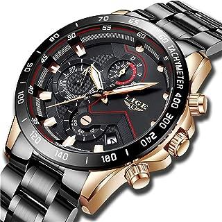 Watches Men Luxury Brand LIGE Chronograph Men Sports Watches Waterproof Full Steel Quartz Men's Watch