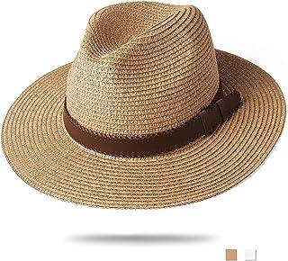 dce0315c83509 FURTALK Panama Hat Sun Hats for Women Men Wide Brim Fedora Straw Beach Hat  UV UPF