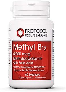 Protocol For Life Balance - Methyl B12 5,000 mcg Methylcobalamin with Folate (Folic Acid) - Supports Homocysteine Metaboli...