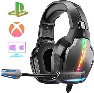 Cascos Gaming PS4, 4 Modos de Iluminación RGB y Orejeras Giratorias de 180°, Auriculares Estéreo Avanzados para Juegos con Micrófono Flexible, Compatibles con PS4/PS5/Xbox One/PC/Switch