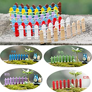 10 Pcs Mini Wood Picket Fence Miniature Fairy Garden Micro-Landscape Home Garden Outdoor Decoration Ornaments Plant Pots Bonsai DIY Craft Decor