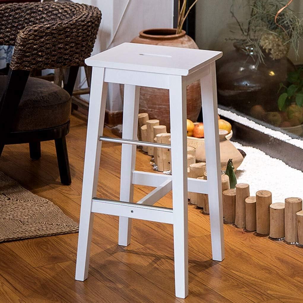 Chaise de Salle à Manger Tabouret de bar en bois massif Nordic High Bar Table Chair Portable Boucle Main Ménage Tabouret Carré (Color : White) White