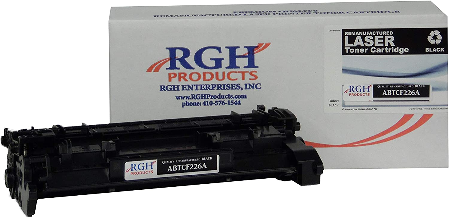 RGH Products Remanufactured Toner Cartridge ABTCF226A Tray Toner Cartridge Replacement for HP CF226A Printer Black