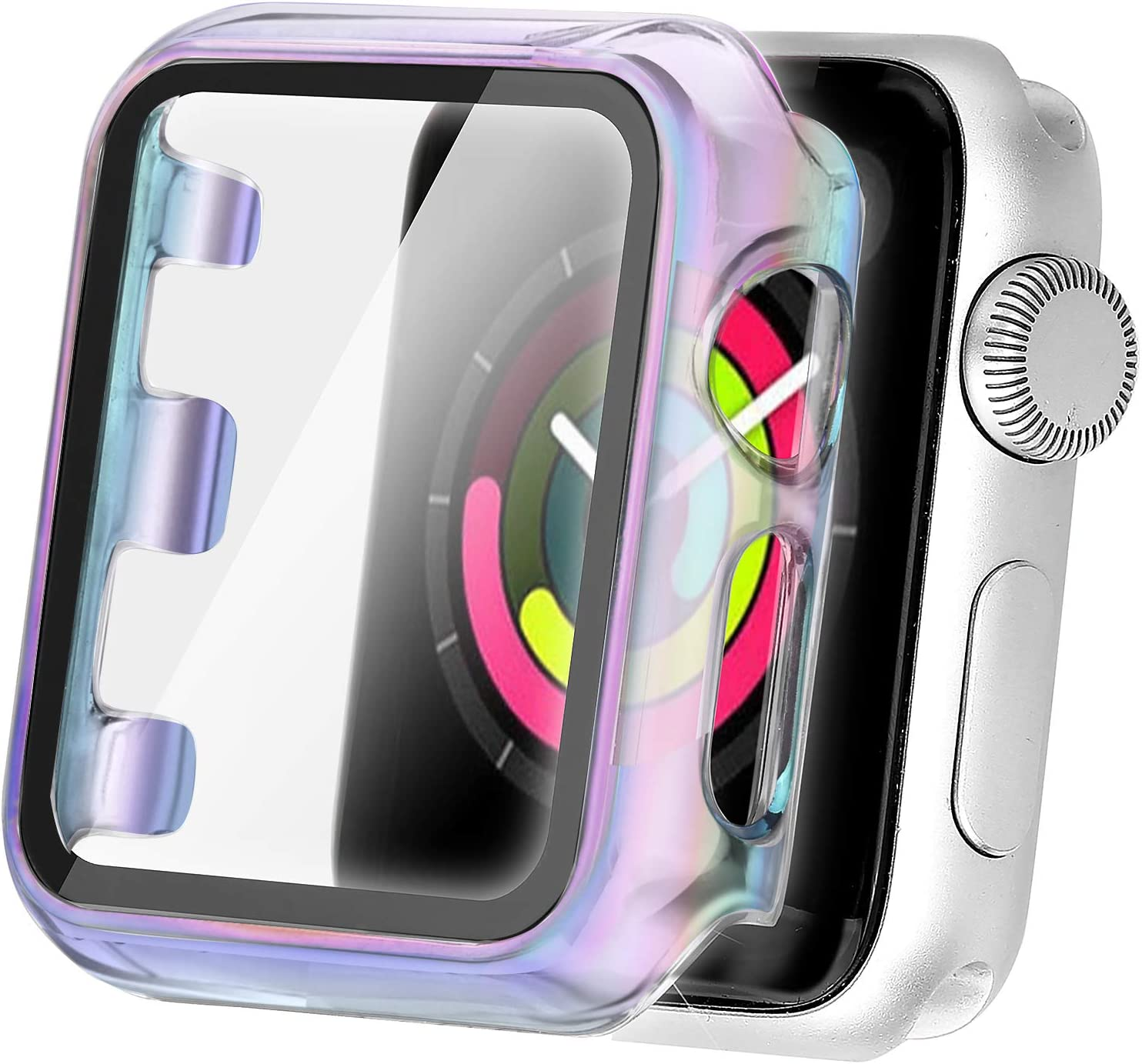 Secbolt 38mm Case Compatible Apple Watch Band with Built in Tempered Glass Screen Protector- All Around Protective Case for iWatch Series 3/2/1, Translucent Colorful(38mm)