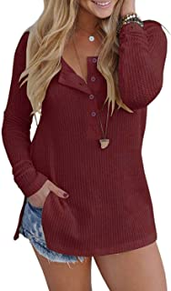 VYNCS Womens Casual Long Sleeve Button Down Henley Blouse Pullover Knit Loose Leisure Stylish Knit Sweaters Tops