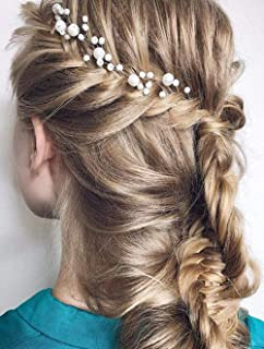 Deniferymakeup Bridal Hair Vine Pearl Hair Piece Babys Breath Hair Accessories Pearls Wedding Hair Piece Simple Bridal Headpiece Vine Gypsophila Halo Wedding Minimal Bride Hair Vine (Rose Gold)