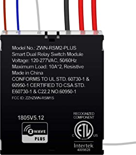 ENERWAVE Z-Wave Plus Dual Relay Module, Hidden Smart Switch, 120-277VAC, 10A Per Relay, NEUTRAL WIRE REQUIRED, ZWN-RSM2-PL...