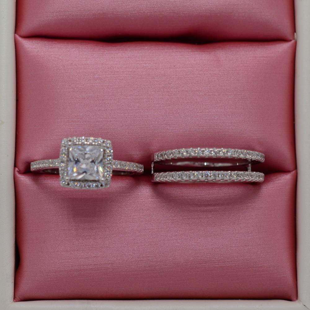 Naomi Fashion Halo Cushion Cubic Zirconia CZ White Gold Filled 2pcs Wedding Engagement Ring Insert Set (Multi-Color,6)