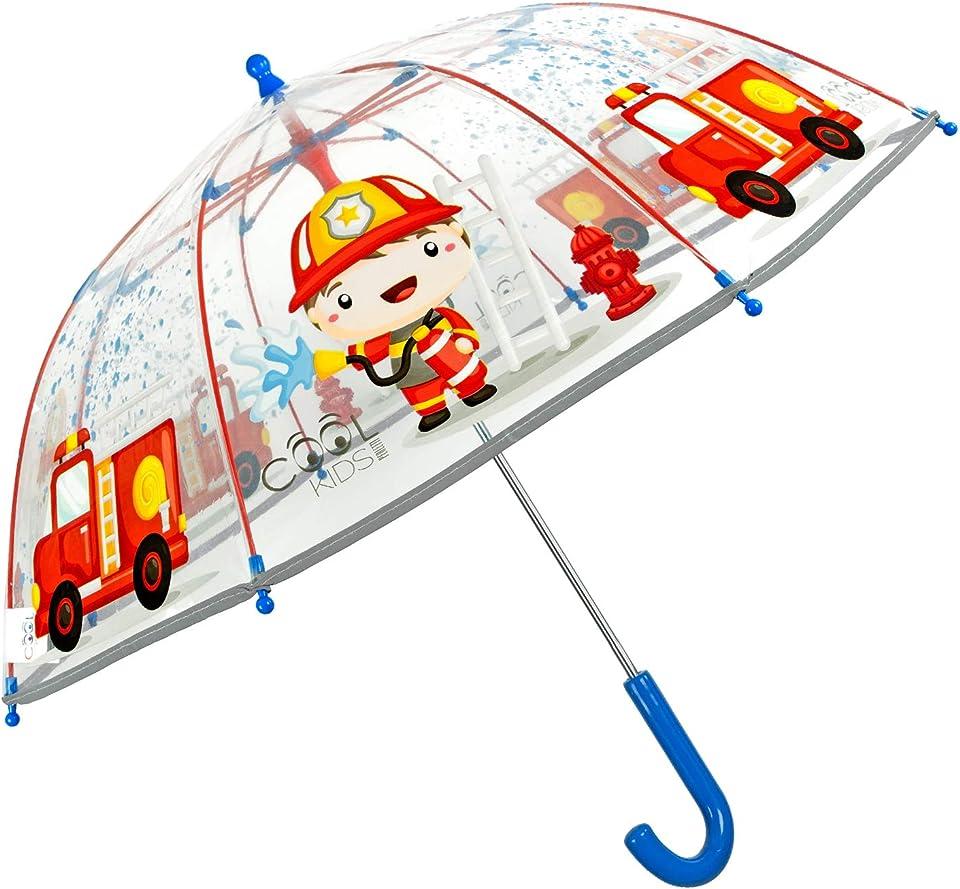 Regenschirm Kinder Transparent Feuerwehrmann - Feuerwehr Wagen Kinderregenschirm Reflektierend für Kleine Jungen 3 4 5 Jahre - Regen Schirm Rot Durchsichtig - Durchm 64 cm - Perletti (Feuerwehrmann)