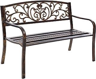 Gardeon Patio Chairs Outdoor Garden Bench Seats Metal-Bronze