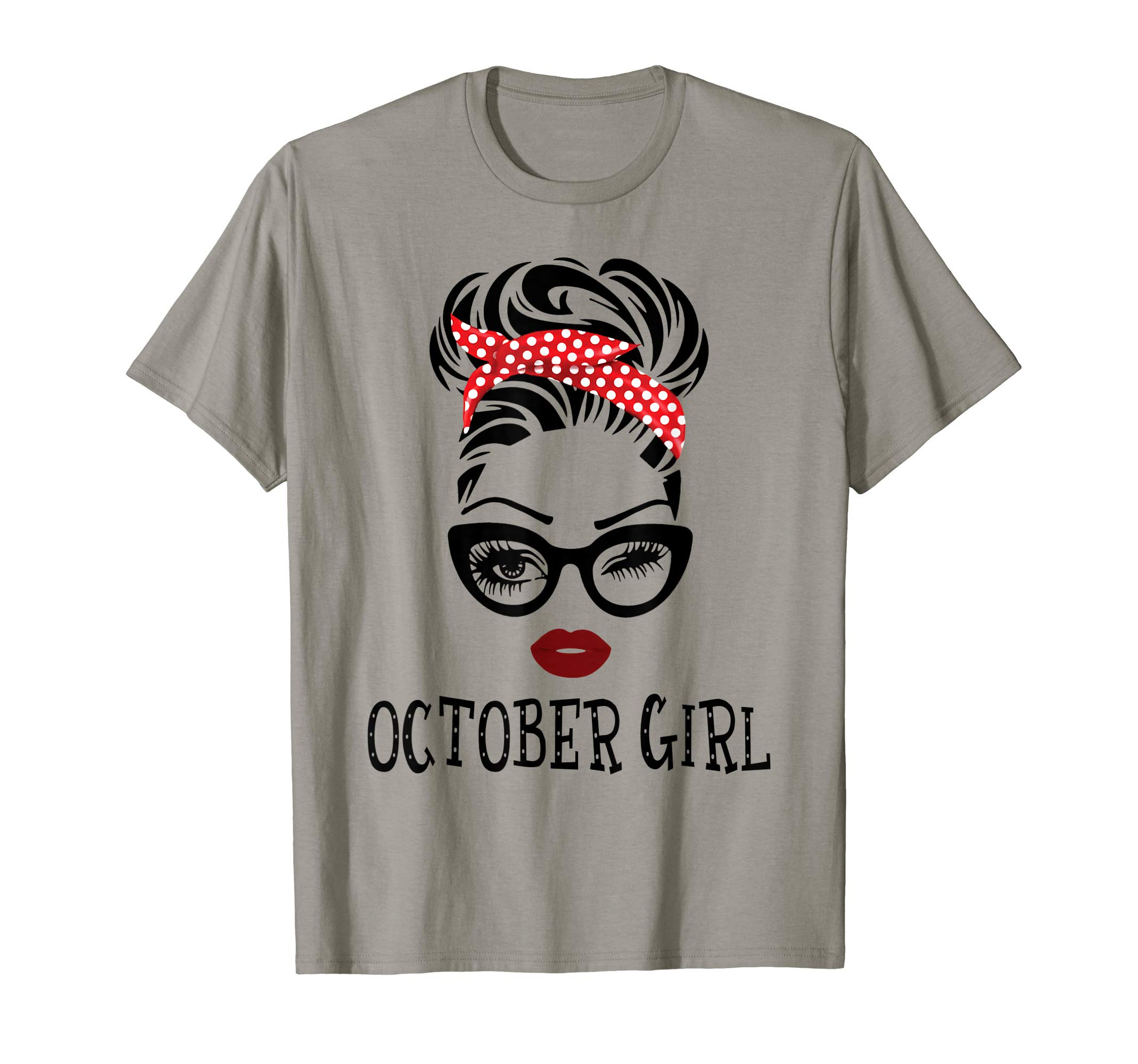 October Girl Woman Face Wink Eyes Lady Face Birthday Gift T-Shirt