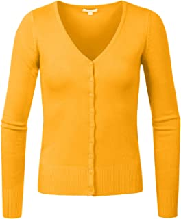 e8d751d8f3 J. LOVNY Womens Basic Casual Light V Neck Button Down Cardigan Sweaterr  S-3XL