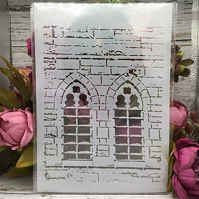 Amazon.com : Stencils for Painting ,Painting Stencils ,A4 29cm Brick Wall Window DIY Layering Stencils Wall Painting Scrapbook Coloring Embossing Album Decorative Template : Arts, Crafts & Sewing