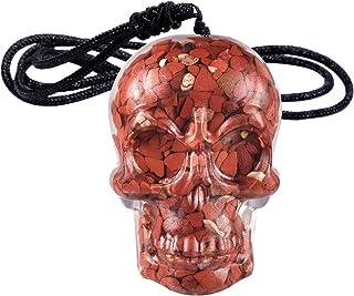 ياتشمينغ اليدوية كريستال الجمجمة قلادة قلادة للرجال والنساء ، حجر رقاقة مجوهرات مع حبل قابل للتعديل