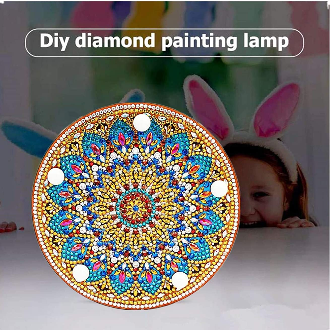 Diamond Painting Mandala with LED Lights DIY Special Shaped Full Drill Crystal Diamond Drawing Bedside Lamp for Home Decoration or Gifts-6x6in (Mandala-2#)