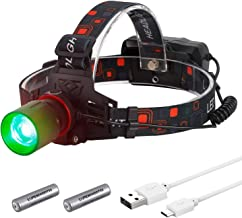 LUMENSHOOTER H10 T6 High Lumen Powerful Green or Red LED Zoomable Hunting Headlight USB Rechargeable Hunting Headlamp for Scanning Coons,Coyotes,Predators