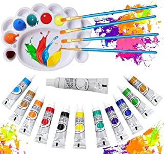 Acrylic Paint set 17 PCS, 12 Tubes,4 Brushes, 1 Pallete Artist Quality oil Acrylic paints water color Non Toxic vibrant co...