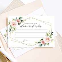Bliss Collections Advice and Wishes Cards, Blush Floral Geometric Design, Perfect for the Bride and Groom, Baby Shower, Bridal Shower, Graduate or Event! Pack of 50 4x6 Cards
