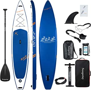 Soopotay Inflatable SUP Stand Up Paddle Board, Inflatable SUP Board, iSUP Package with All Accessories (Racing-Navy Blue-12'6'' x 30'' x 6'')